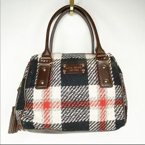 RARE Kate Spade Plaid Wool Satchel w/ Leather Trim